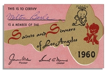 Milton Berles Membership Card to Saints and Sinners From 1960