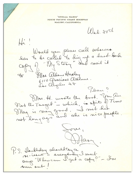 Oscar Winning Actress Mary Astor Autograph Letter Signed -- She Asks Her Agent to Send a Copy of Her Autobiography ''My Story'' to a Friend