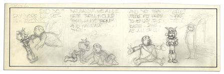 Lil Abner Unfinished Comic Strip by Al Capp in Pencil -- Undated Strip Features Mammy Yokum -- 19.75 x 6.25 -- Very Good -- From the Al Capp Estate