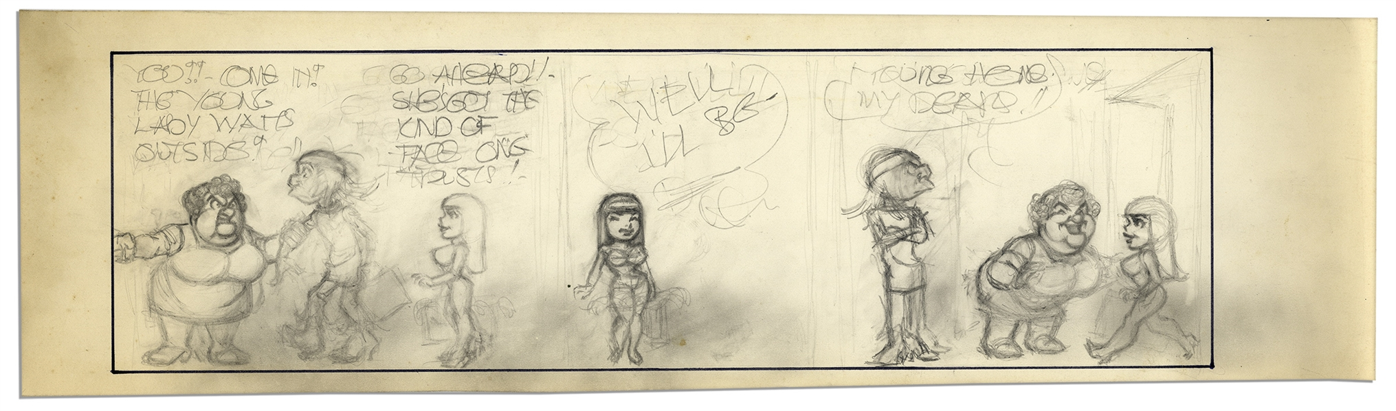 ''Li'l Abner'' Unfinished Comic Strip by Al Capp in Pencil -- Undated -- 23'' x 6.5'' -- Very Good Condition -- From the Al Capp Estate