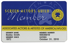 SAG Card Belonging to Football Legend & Actor Bubba Smith