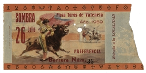 Ernest Hemingways Own Bullfighting Ticket From 26 July 1959 From the Plaza Toros de Valencia -- Hemingway Wrote About The Bullfights He Attended in the Summer of 59 for The Dangerous Summer