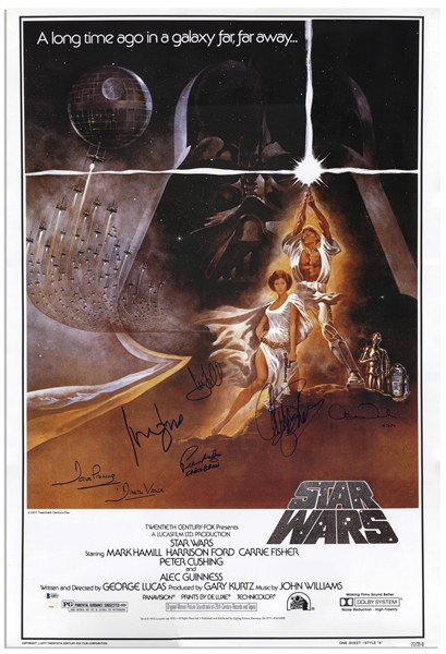''Star Wars'' Cast-Signed Movie Poster -- Signed by Mark Hamill, Carrie Fisher, Harrison Ford, and Darth Vader, C-3PO and Chewbacca's Characters