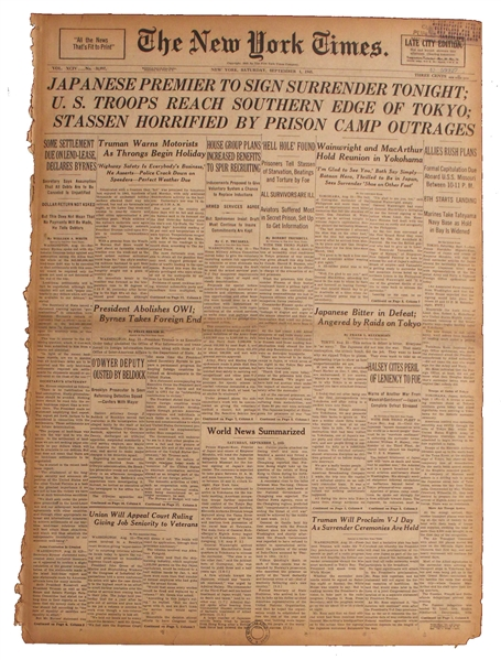 1945 ''New York Times'' Newspaper -- ''Japanese Premier To Sign Surrender Tonight''