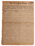 1945 New York Times Newspaper -- Japanese Premier To Sign Surrender Tonight