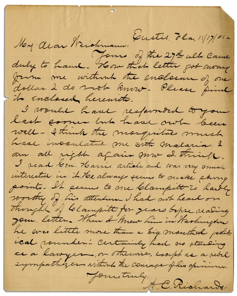Abraham Lincoln Assassination Letter From the Lead Detective -- ''...Clampitt [Mary Surratt's defense lawyer] was little more than a big mouthed political rounder...''