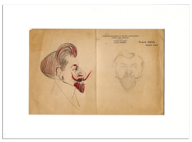 Pair of Sketches by Enrico Caruso of Fellow Opera Singer, Bass Legend Pol Plancon -- Sketched While On a South American Tour Circa 1917