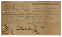 Rare Telegram Pertaining to Press Coverage of King Tuts Tomb, Sent in 1924