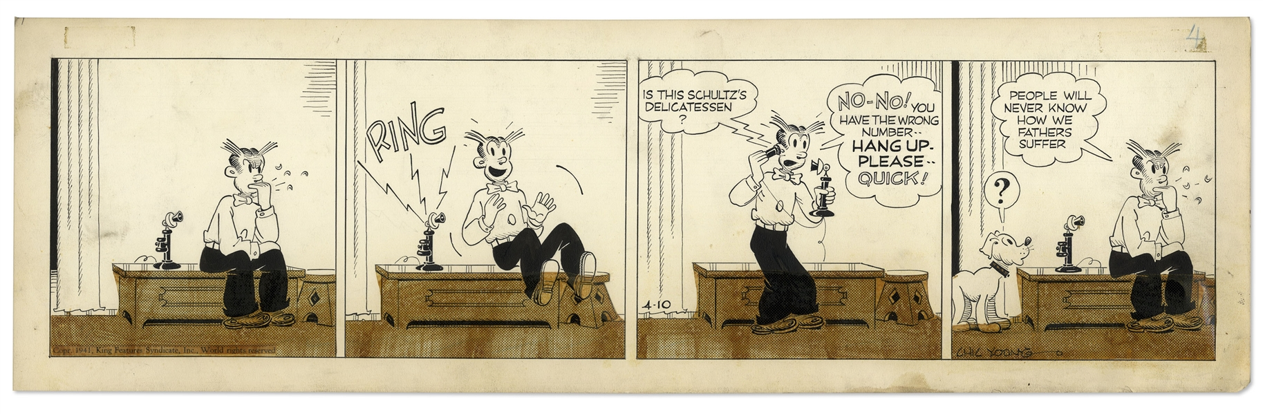 Chic Young Hand-Drawn ''Blondie'' Comic Strip From 1941 Titled ''The Paternity Ward'' -- Dagwood Awaits the Arrival of Cookie's Birth!