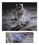 Buzz Aldrin Signed 20 x 16 Photo as He Walks on the Moon -- With Novaspace COA