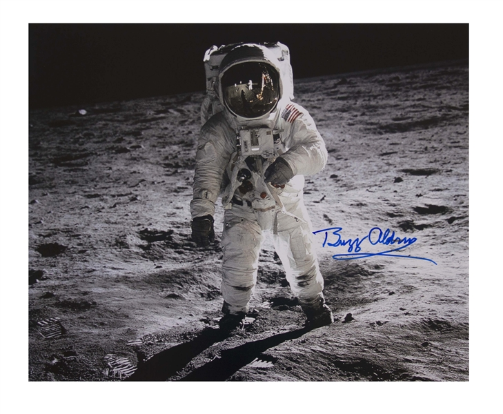 Buzz Aldrin Signed 20'' x 16'' Photo as He Walks on the Moon -- With Novaspace COA