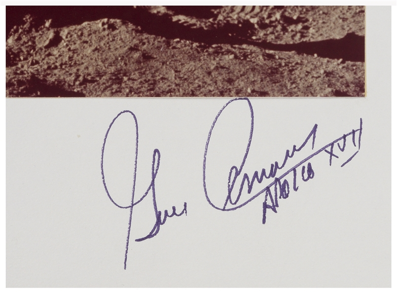 Gene Cernan Signed 20'' x 16'' Photo Display of Cernan Saluting the U.S. Flag on the Moon During Apollo 17