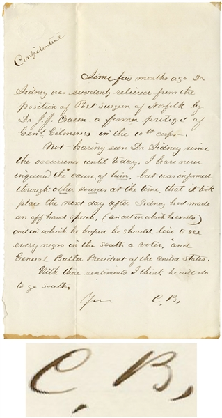 Clara Barton Autograph Letter Signed -- Writing Approvingly of a Surgeon, ''...he hoped he should live to see every negro in the south a voter...''