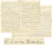 Intriguing Clara Barton Autograph Letter Signed -- ...I am not well...it is not my body proper that has given way but the nerves & sleep...