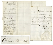 Clara Barton Autograph Letter Signed to General Benjamin Butler, With Autograph Note Signed by Butler
