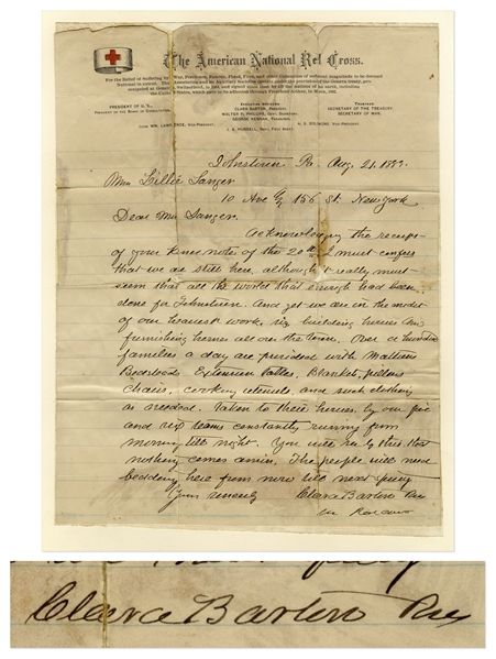 Clara Barton Autograph Letter Signed From Johnstown During the Johnstown Flood of 1889, the Event That Tested the Mettle of the American Red Cross -- ''...we are in the midst of our heaviest work...''