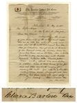 Clara Barton Autograph Letter Signed From Johnstown During the Johnstown Flood of 1889, the Event That Tested the Mettle of the American Red Cross -- ...we are in the midst of our heaviest work...