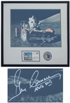 Gene Cernan Large 19.5 x 16 Signed Photo on the Lunar Surface