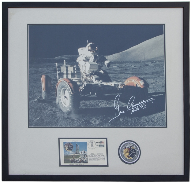 Gene Cernan Large 19.5'' x 16'' Signed Photo on the Lunar Surface