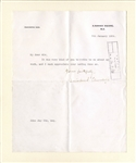 Winston Churchill Letter Signed -- ...It was very kind of you to write to me about my work...