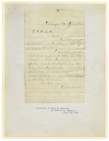 Clara Barton Autograph Letter Signed -- With a Photo of Her Childhood Home