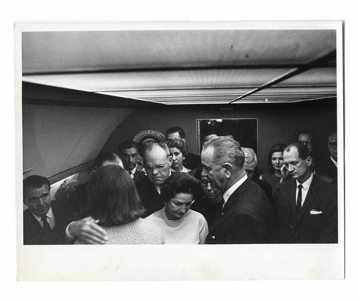 Cecil W. Stoughton's Personal, Unpublished Photo of LBJ's Inauguration Aboard Air Force One, With Jackie Kennedy Being Comforted