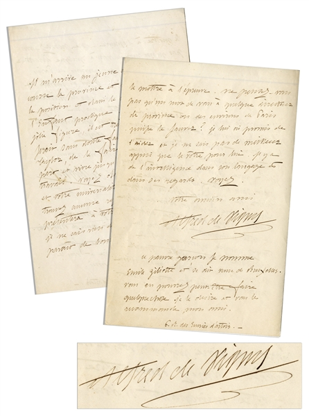 Alfred de Vigny Autograph Letter Signed -- ''...There comes to me a young actor...the Prodigal Son...''