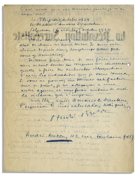 Andre Breton Autograph Letter Signed on The Surrealist Revolution Letterhead -- ''...newspapers concerning a Mr. Breton, politician, a Mr. Le Breton, professor, and even Bretons dead in the war...''