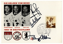 Apollo 11 Crew-Signed Postcard Honoring the Astronauts & Their Visit to Germany -- Signed by Neil Armstrong, Buzz Aldrin & Michael Collins