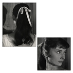 Audrey Hepburn Personally Owned Pair of Photos From War and Peace, Testing a Hairstyle for the Film -- From the Personal Collection of Audrey Hepburn