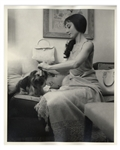 Audrey Hepburn Personally Owned Photo, Taken During Filming of Green Mansions -- Audrey Is Shown Here With Her Beloved Yorkshire Terrier Mr. Famous