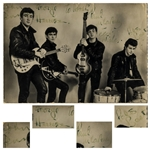 Beatles Signed Photo From 1962 With Pete Best as Drummer -- Signed by Lennon, McCartney, Harrison & Best -- PSA Slabbed