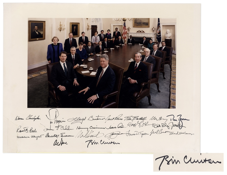 Bill Clinton Signed 20'' x 15'' Photograph of His Entire Cabinet -- Signed by All 23 Including Clinton & Al Gore