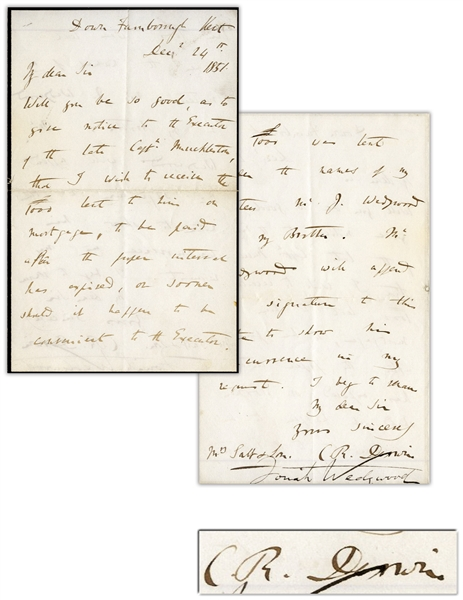 Charles Darwin Autograph Letter Signed From 1851 -- On Black-Bordered Stationery to Mourn the Passing of Darwin's Daughter Annie