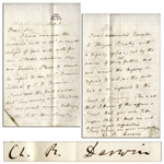 Charles Darwin Letter Signed -- ...take proper steps to keep me out of any legal difficulties...