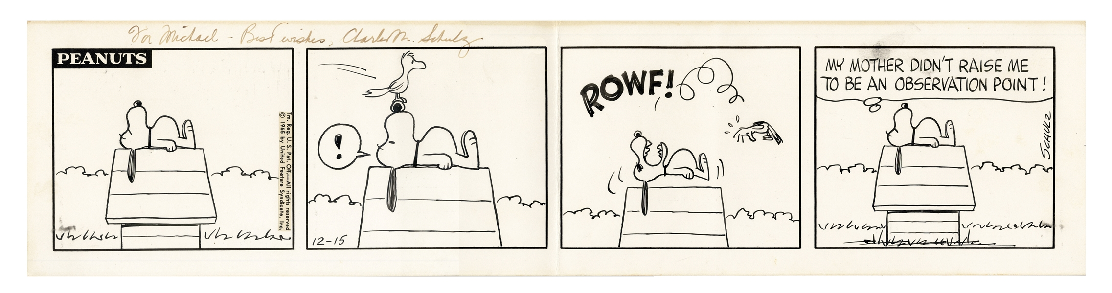 Charles Schulz Hand-Drawn ''Peanuts'' Comic Strip From 1965 -- In This Very Cute Strip, Snoopy Bares Teeth at a Seagull Who Lands on His Nose