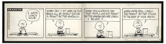 Charles Schulz Hand-Drawn Peanuts Comic Strip From 1963 Featuring Charlie Brown