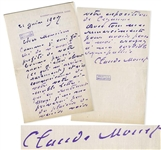 Claude Monet Autograph Letter Signed -- ...I will not deprive myself of the pleasure of coming to see your Cezanne exhibition...