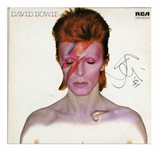 David Bowie Signed Album Cover of Aladdin Sane -- With Roger Epperson COA