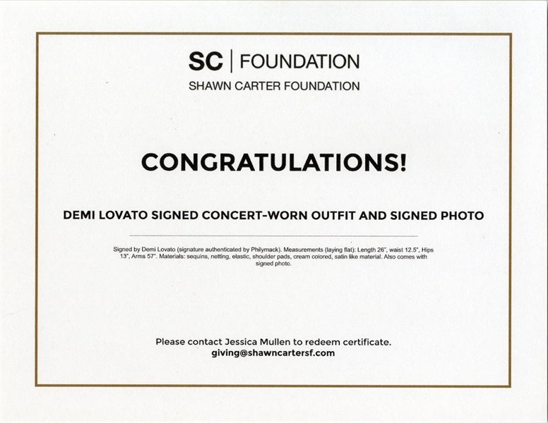 Demi Lovato Concert-Worn Outfit, Signed by the Superstar -- Also With Signed Photo