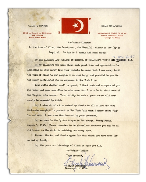 Elijah Muhammad Document Signed From 1958