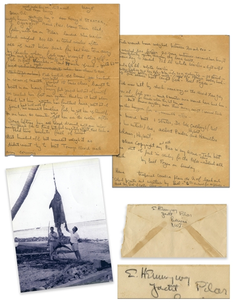 Ernest Hemingway Autograph Letter & Signed Envelope, Documenting the Legendary Marlin That Inspired ''The Old Man and the Sea'' -- ''...landed Blue Marlin which weighed 500 lbs...sharks hit him...''
