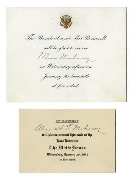 Franklin D. Roosevelt Presidential Inauguration Invitation & White House Entrance Card