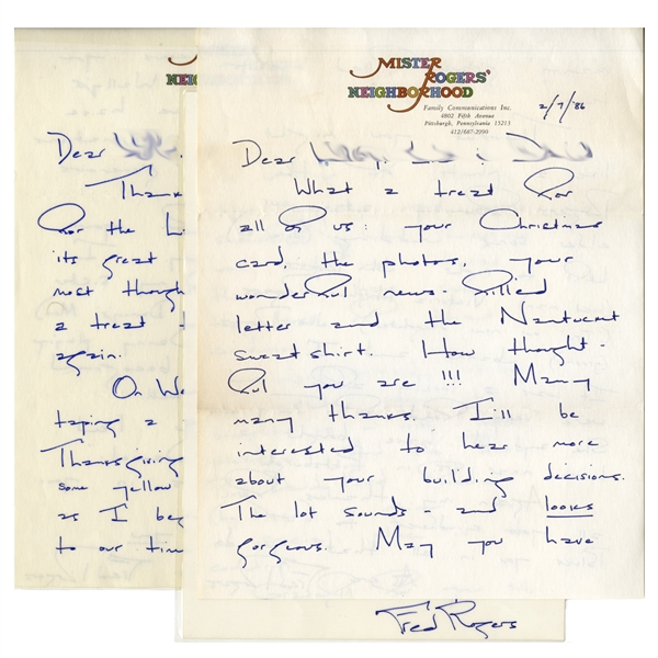 Fred Rogers of ''Mister Rogers' Neighborhood'' Lot of 17 Autograph Letters Signed -- With Many on Stationery From the Show