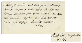 Frederick Douglass Autograph Note Signed to the Son of Abolitionist William Lloyd Garrison -- Written in 1880 Shortly After Garrisons Death