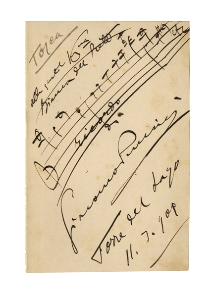 Giacomo Puccini AMQS for ''Tosca'' -- Large Sheet Measures 4.5'' x 7''