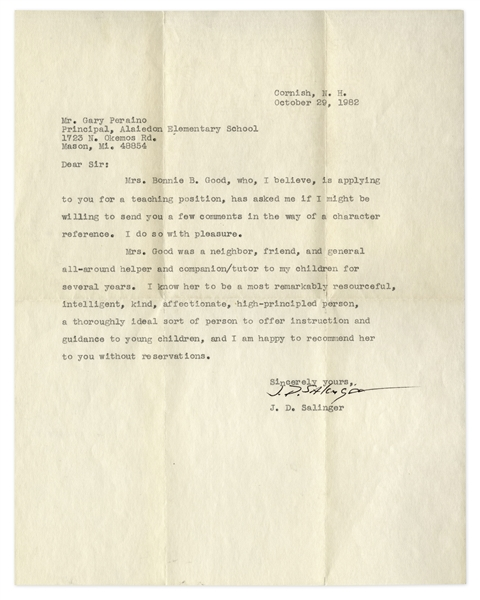 J.D. Salinger Letter Signed -- Salinger Recommends ''Bonnie B. Good'' for a Teaching Position