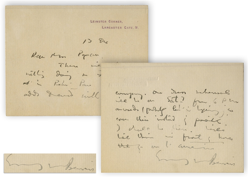 J.M. Barrie Autograph Letter Signed -- ''...There will be nothing doing on Friday evening in Peter Pan except odds & ends...''
