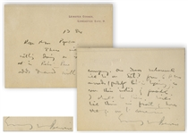 J.M. Barrie Autograph Letter Signed -- ...There will be nothing doing on Friday evening in Peter Pan except odds & ends...