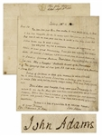 John Adams Autograph Letter Signed on the Stamp Act -- Adams Gives Documents and broken hints to Jedidiah Morse for Annals of the American Revolution, on Events Five and Forty years ago